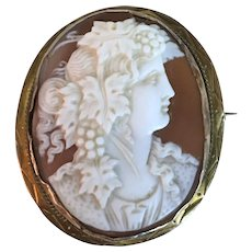 Antique Victorian Gold Carved Sardonyx Helmet Shell Classical Greek Goddess Cameo Brooch Pin Pendant