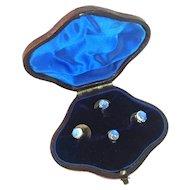 Antique Georgian Era Moonstone and Silver Collar Button Stud Set in Original Leather Box
