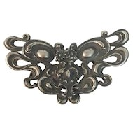 Antique Art Nouveau Silver Plated Belt Buckle