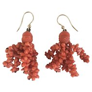 Antique Mourning Acorn Coral Regency Era Georgian 9kt Gold Dangling Hook Earrings
