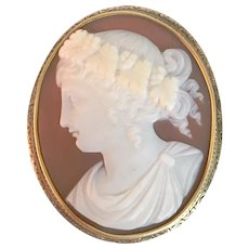 Antique Victorian Carved Sardonyx Shell Cameo Bacchus Dionysus Brooch Gold Pin