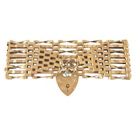 Vintage English 9k Gold Padlock Wide Gate Bracelet
