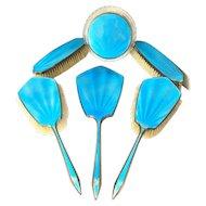 Art Deco 6 Piece Stevens & Williams Aqua Blue Guilloche Enamel Dresser Set