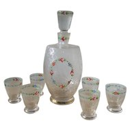 Antique engraved and enameled Regency Era cordial set decanter and matching glasses