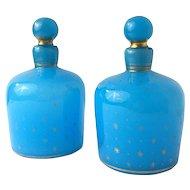 Antique French Blue Opaline Gold Stars Perfume Bottle Set