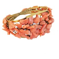 Antique Regency Era Georgian Coral and Pinchbeck Bracelet