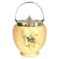 1889 Royal Worcester Blush Ivory Porcelain Biscuit Barrel Sterling Silver Thistle