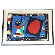 "Joan Miro ""Woman at The Mirror"" c. 1956. Color Lithograph"