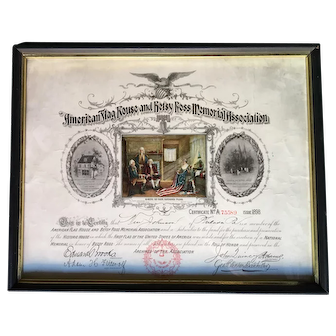 American Flag House and Betsy Ross Memorial Association Certificate