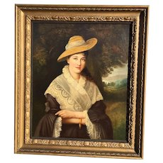 Antique Old Master Portrait of English Woman