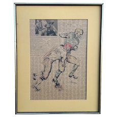 E. Weinger Signed Mixed Media Ink Drawing