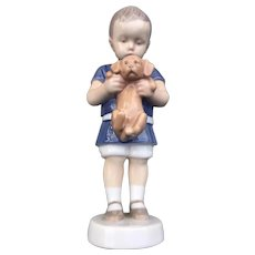 "Bing & Grondahl ""Boy With Puppy"" Porcelain Figurine # 1747"