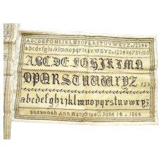 19th Century Alphabet Sampler in black by Susannah Ann Hawxwell June 14 1854