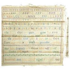 19th Century sampler by Susannah Ann Hawxwell aged 7 1851