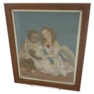 19th Century needlepoint picture in wool 2 girls Eva & Topsy