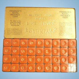 Advertising metal patience game for FRANKLYN's fine shagg tobacco
