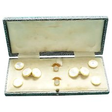 Vintage gentleman's cufflinks & studs boxed set marked 9ct