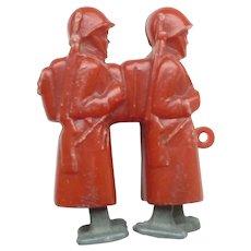 Vintage plastic slope / ramp walker toy pair of soldiers