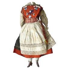 19th Century fabric dolls body bisque lower limbs & original regional costume - NO HEAD