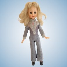 """Vintage CAROL CABAR 1970s doll in trouser suit 15"""" tall"""