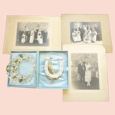 Vintage 1930s bridal headdress & good luck horseshoe + 3 photos