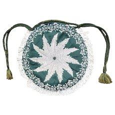 19th Century bead work bag - very fine tiny beads - needs some work