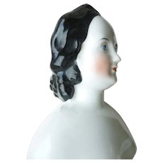Mid 19th century china head doll braids & comb hairstyle original silk costume