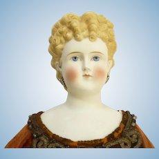 19th Century large Parian head doll 26 inches tall great cloths ABG