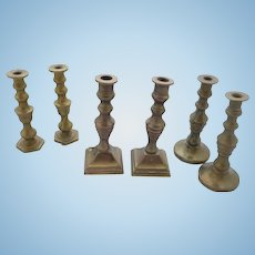 Early 20th Century 3 pairs miniature brass candle sticks for dolls house