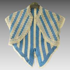Mid 19th century hand made blue silk ribbon & lace ladies bolero type jacket