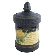 Antique wooden money box shape of Victorian Letter box  with Friendship poem