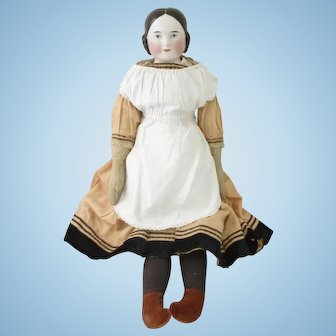 Large Kister 'covered wagon' glazed shoulder head doll circa 1850