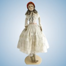 Antique English 19th century wax 'slit head' 'Mad Alice' doll 22 inches