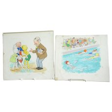 2 original watercolour artwork illustrations from Bobby Bear annual circa 1950s