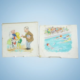 2 original watercolour artwork illustrations from Bobby Bear annual circa 1950s