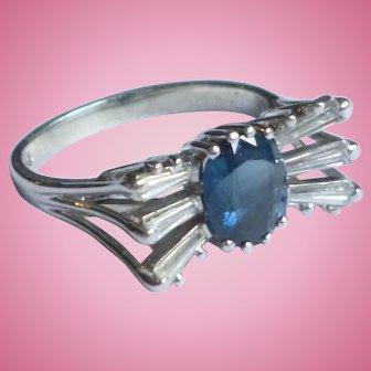 Blue Sapphire & baguette diamonds 14kt white gold ring US size 6 UK size L