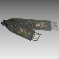 Antique vibrant woven silk roses ribbon covered in black gauze from back of Victorian ladies skirt