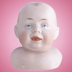 Gerbruder Knoch 205 baby boy bisque shoulder plate doll head only hair line crack & firing flaws