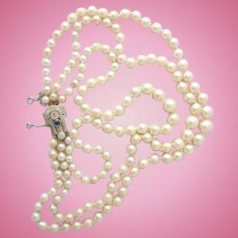 3 strand cultured pearl necklace - Art Deco sapphire & diamond 18 ct gold & platinum clasp