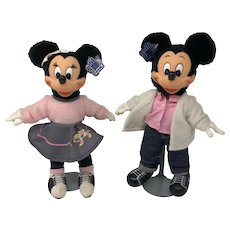 """""""Sock Hop"""" Mickey & Minnie, by Applause, 1980s"""
