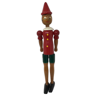 Vintage Wooden Pinocchio Doll - C2 Made in Italy