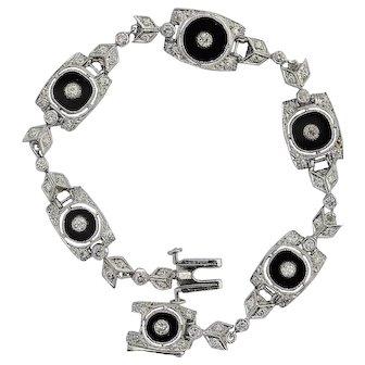1930s Diamond Onyx Bracelet Platinum 950 Squares with 14k White Gold Links