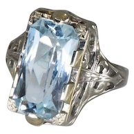 Soft Aquamarine Fancy Cut Filagree Ring 18k White Gold 1910's