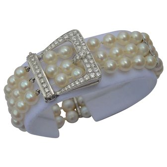 1940s Cultured Pearl & Diamond Platinum 950 Bracelet 2.88 tcw