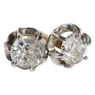Diamond Earrings Pair Scalloped Mounting 14k White and 14K Yellow Gold 1900's