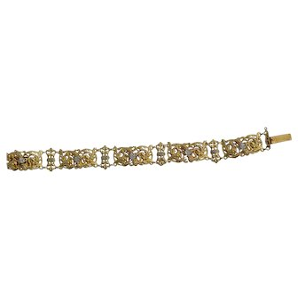 18K Yellow Gold French Hand Tooled Bracelet with Diamonds 1.75 tcw C-1900