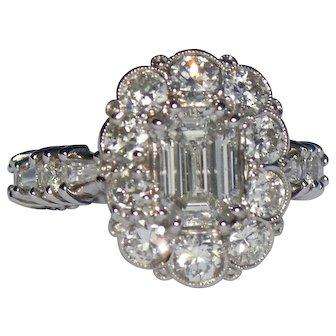 Platinum 950 Emerald Cut Diamond Ring 3.90 tcw