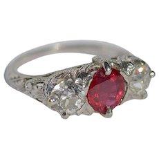 Platinum 950 Ruby and Diamond Ring 1910's