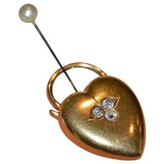 14k Yellow Gold and Diamond Heart Lock 1890's