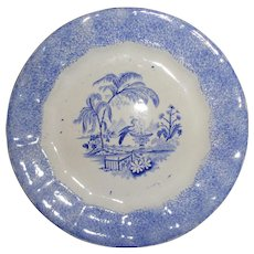 """19th.c Antique Blue Spatter Ware Peafowl at Fountain Pattern Ironstone China Plate, 7-1/2"""" diameteri"""